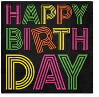 Servietten 25x25 cm - Birthday Neons (colorful)