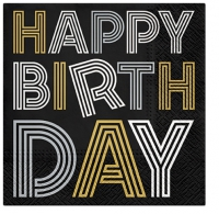 Servietten 25x25 cm - Birthday Neons (gold-silver)