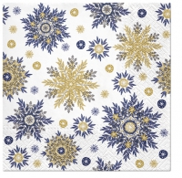 Servietten 33x33 cm - Snowflakes navy blue