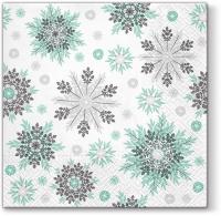 Servietten 33x33 cm - Snowflakes mint