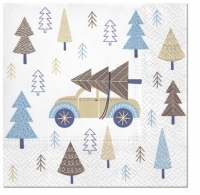 Servietten 33x33 cm - Christmas Car blue