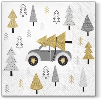 Servietten 33x33 cm - Christmas Car silver