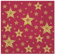 Servietten 33x33 cm - Beatiful Stars dark red
