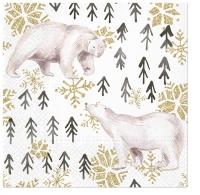 Servietten 33x33 cm - Glitter Polar Bears