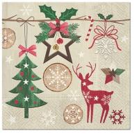 Servietten 33x33 cm - Rustic Christmas