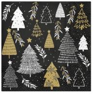 Servietten 33x33 cm - Christmas Tree Stamps
