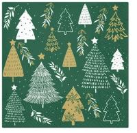 Servietten 33x33 cm - Christmas Tree Stamps green