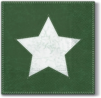 Servietten 33x33 cm - X-mas Star (green)
