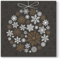 Servietten 33x33 cm - Inspiration Winter Flakes Frozen Baubles (copper)