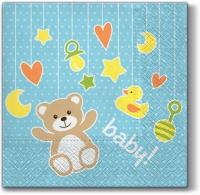 Servietten 33x33 cm - Baby Toys (light blue)