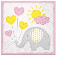 Servietten 33x33 cm - Cute Elephant (light pink)