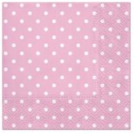 Servietten 33x33 cm - Dots (light pink)
