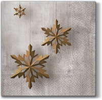 Servietten 33x33 cm - Snowflake on Wood