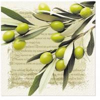 Servietten 33x33 cm - Griechische Oliven