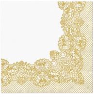 Servietten 33x33 cm - Königliche Spitze (gold)