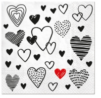 Servietten 33x33 cm - Crazy Love schwarz