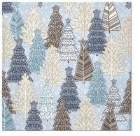 Servietten 33x33 cm - Glittery Spruces (blue)