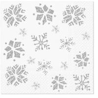 Servietten 33x33 cm - Glitter Snowflakes silver