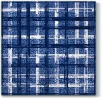 Servietten 33x33 cm - Stoff Check NAVY BLUE blau