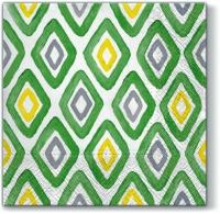 Servietten 33x33 cm - Watercolor Rhombus GREEN