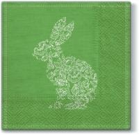 Servietten 33x33 cm - Lace Bunny green