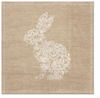 Servietten 33x33 cm - Lace Bunny brown