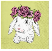 Servietten 33x33 cm - Bunny in Wreath