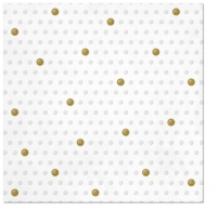 Servietten 33x33 cm - Inspiration Dots Spots white - gold