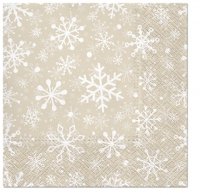 Servietten 33x33 cm - Christmas Snowflakes beige