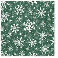 Servietten 33x33 cm - Christmas Snowflakes green