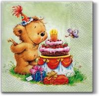 Lunch Servietten Birthday Bear (green)