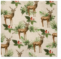 Servietten 33x33 cm - Deers and Holly