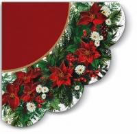 Servietten - Rund - Weihnachtsstern Kranz (rot)