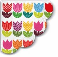Servietten - Rund Funny Tulips