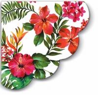 Servietten - Rund - Hawaiianische Blumen R