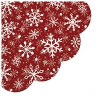 Servietten - Rund - Christmas Snowflakes red