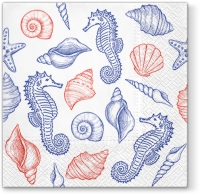 Lunch Servietten Seahorses and Shells blue