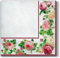 Servietten 33x33 cm - Rosa Rahmen (weiß)