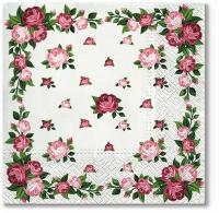 Servietten 33x33 cm - Elegant Roses Frame