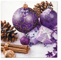Servietten 33x33 cm - Purple Baubles