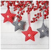 Servietten 33x33 cm - Gray-Red Stars