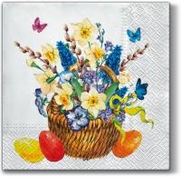 Lunch Servietten Basket with Flowers