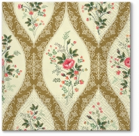 Servietten 33x33 cm - Wallpaper with Flowers gold