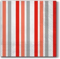 Servietten 33x33 cm - Nur Streifen (rot)