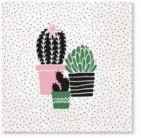 Servietten 33x33 cm - Cactus on Dots rosa
