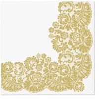 Servietten 33x33 cm - Spitzenrahmen gold