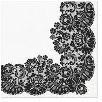 Servietten 33x33 cm - Lacy frame black