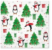 Servietten 33x33 cm - Christmas Penguins
