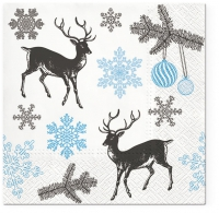 Servietten 33x33 cm - Winter Stags blue