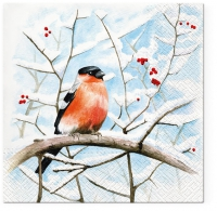 Servietten 33x33 cm - Bullfinch with Rowan